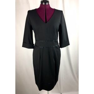 NWT Boss Black Virgin Wool Sheath Dress 3/4 Sleeve